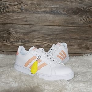New Adidas Grand Court White Coral Pink Sneakers